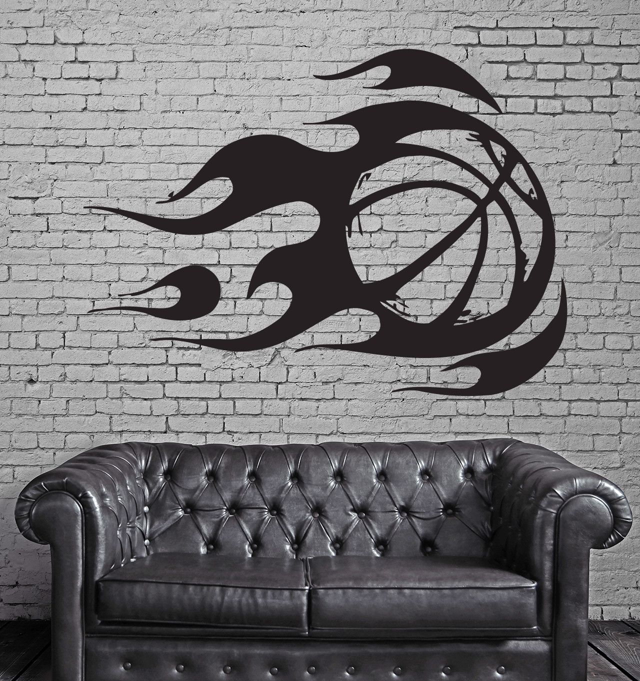 Wall Sticker Vinyl Decal Mural Sport Basketball Fire Ball (z312)