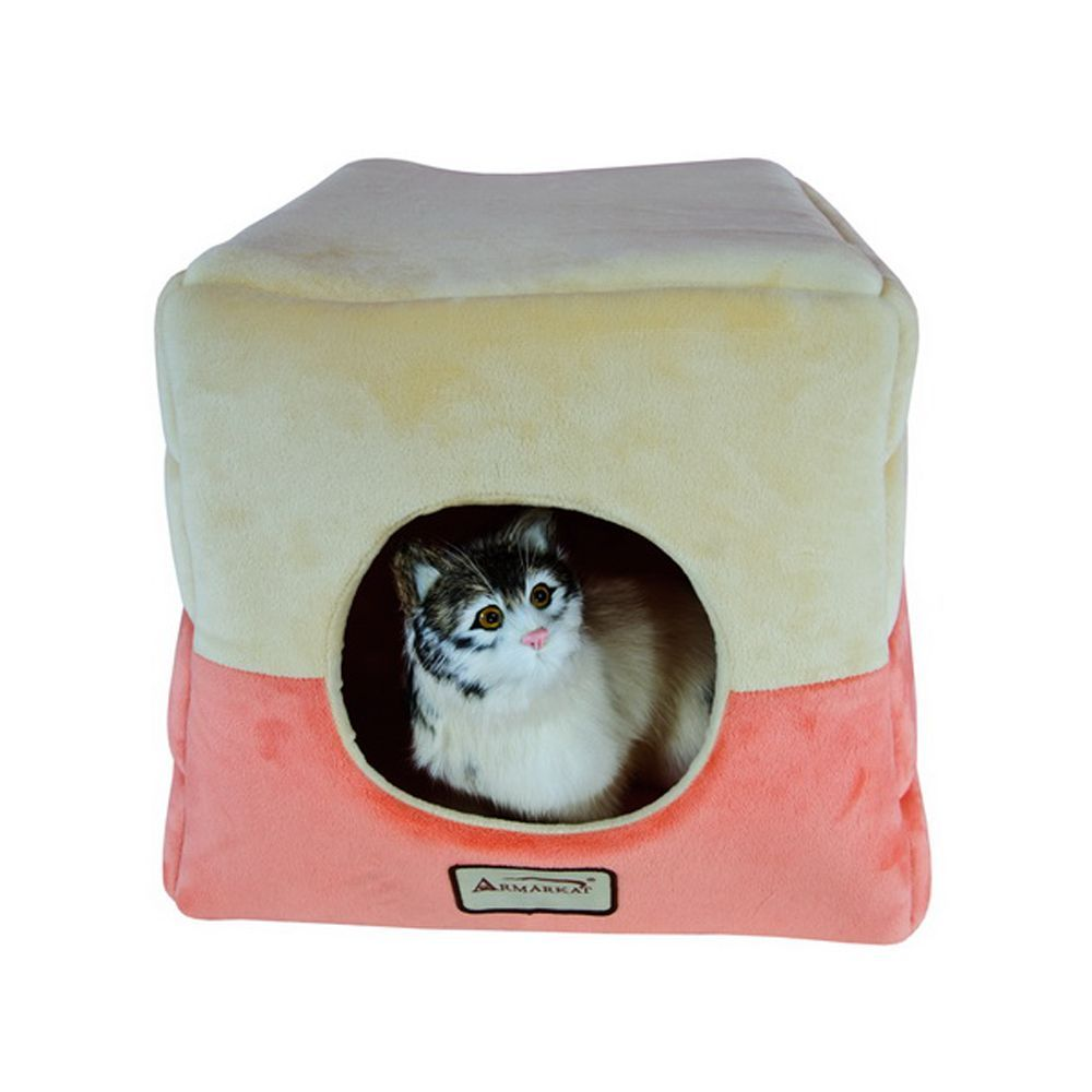"""Armarkat House Cat Bed in Brown 18/"""" L X 14/"""" W"""