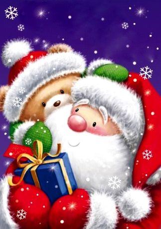 Santa & Teddy Bear - Simon Elvin Art - Artist