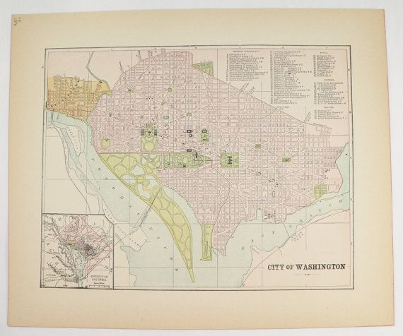 Washington DC Map US Capital City Street Map Vintage Map - 1896 map of us