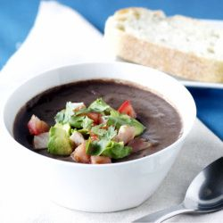 Hearty black bean soup with hatch chiles for a special kick!