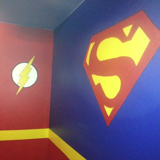 My sons new big boy superhero room!!! We are so happy with the results!