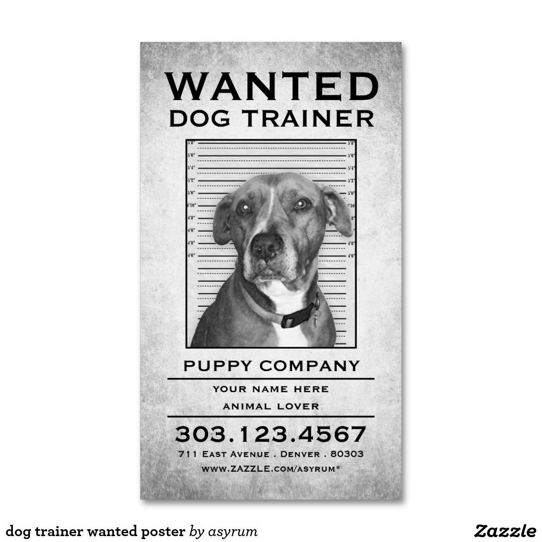 Dog Trainer Wanted Poster Business Card Zazzle Com Dog