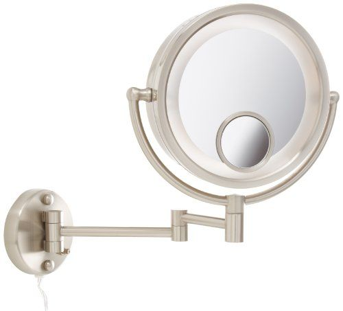 Jerdon Hl8515n 8 5 Inch Two Sided Swivel Halo Lighted Wall Mount Mirror With 7x And 15x M Wall Mounted Magnifying Mirror Wall Mounted Makeup Mirror Wall Lights 15x magnifying mirror with lights