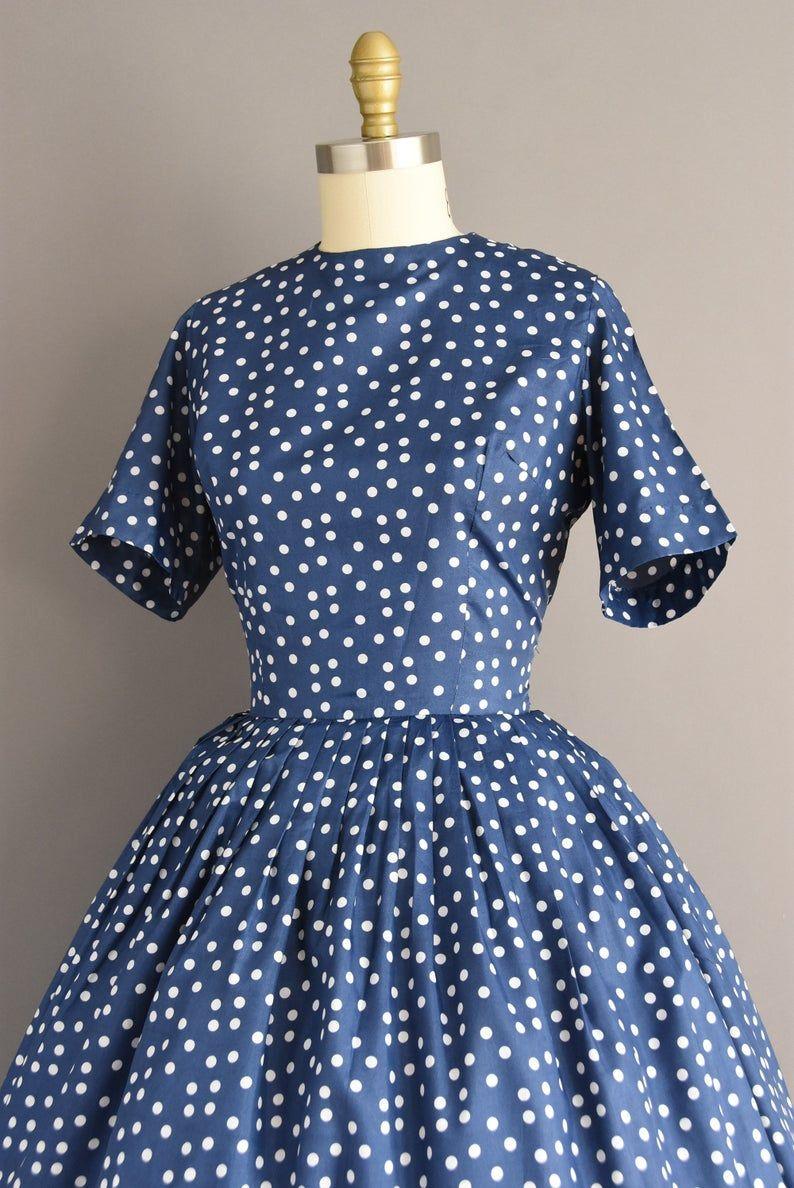 Vintage 50s Dress Navy Blue White Polka Dot Short Sleeve Etsy Vintage Dresses 50s Navy Blue Short Dress Blue Dress Short [ 1188 x 794 Pixel ]