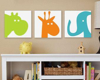 Safari Elephant Giraffe Hippo Canvas Children S Art Wall Nursery Prints Set Of Three