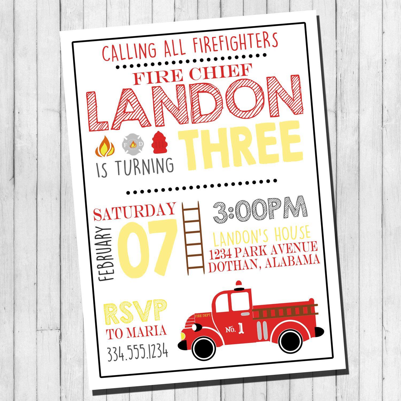 Firefighter Birthday Invitation | Boy Birthday Invitation | Birthday ...