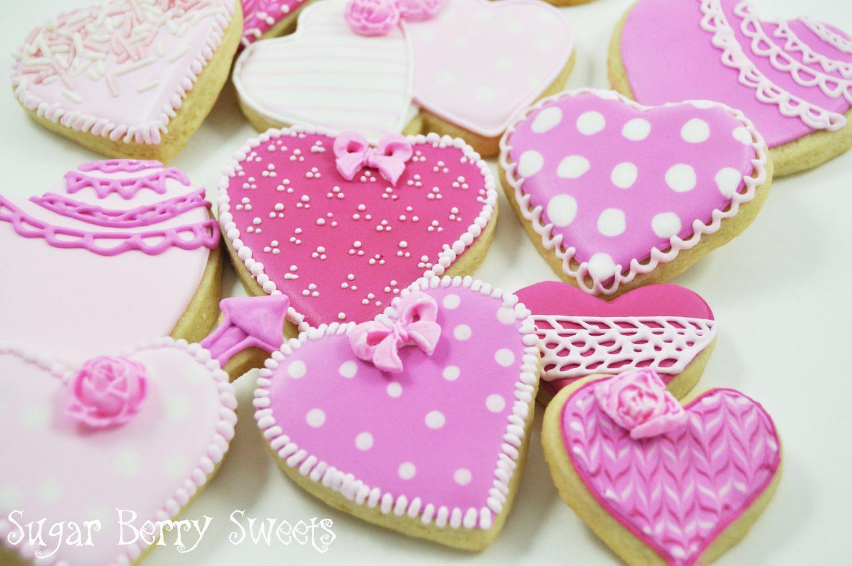Valentine S Day Pink Love Hearts One Dozen Heart Cookies Sugar