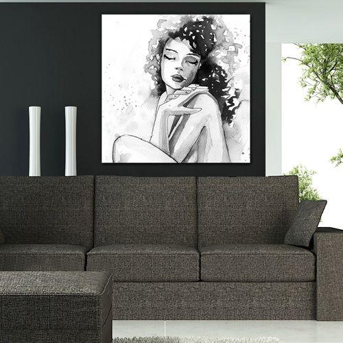 Tableau déco femme nue noir et blanc aquarelle   Tableau portrait ... 22cb10e54cc8