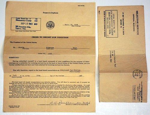Army Draft Notice Sample 3 Including Envelope All Men
