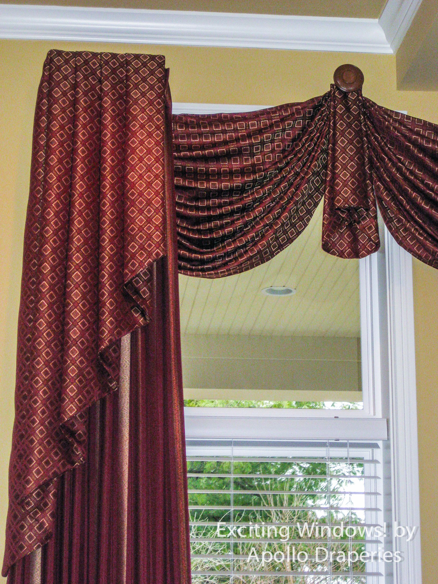 Medallion Top Swag With Drapery Panels And Jabot Overlays