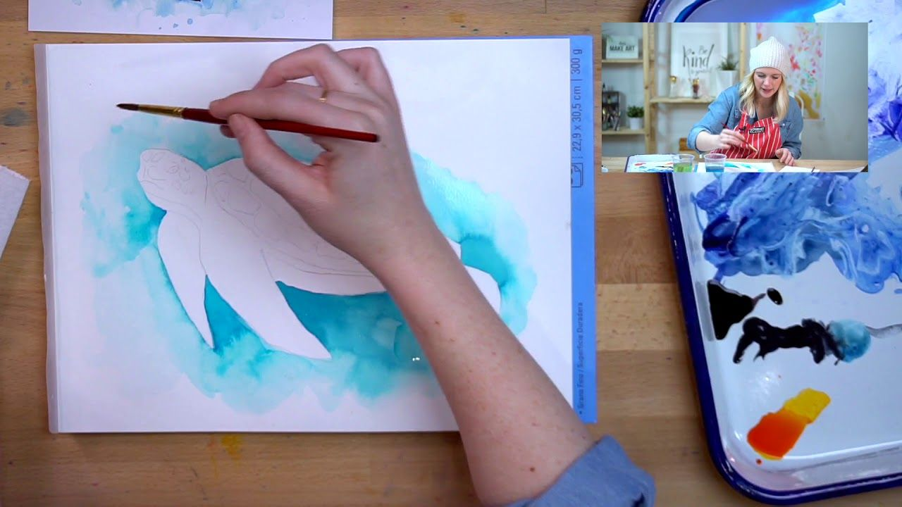 Sea Turtle Watercolor Art Tutorial Turtle Watercolor Sea Turtle