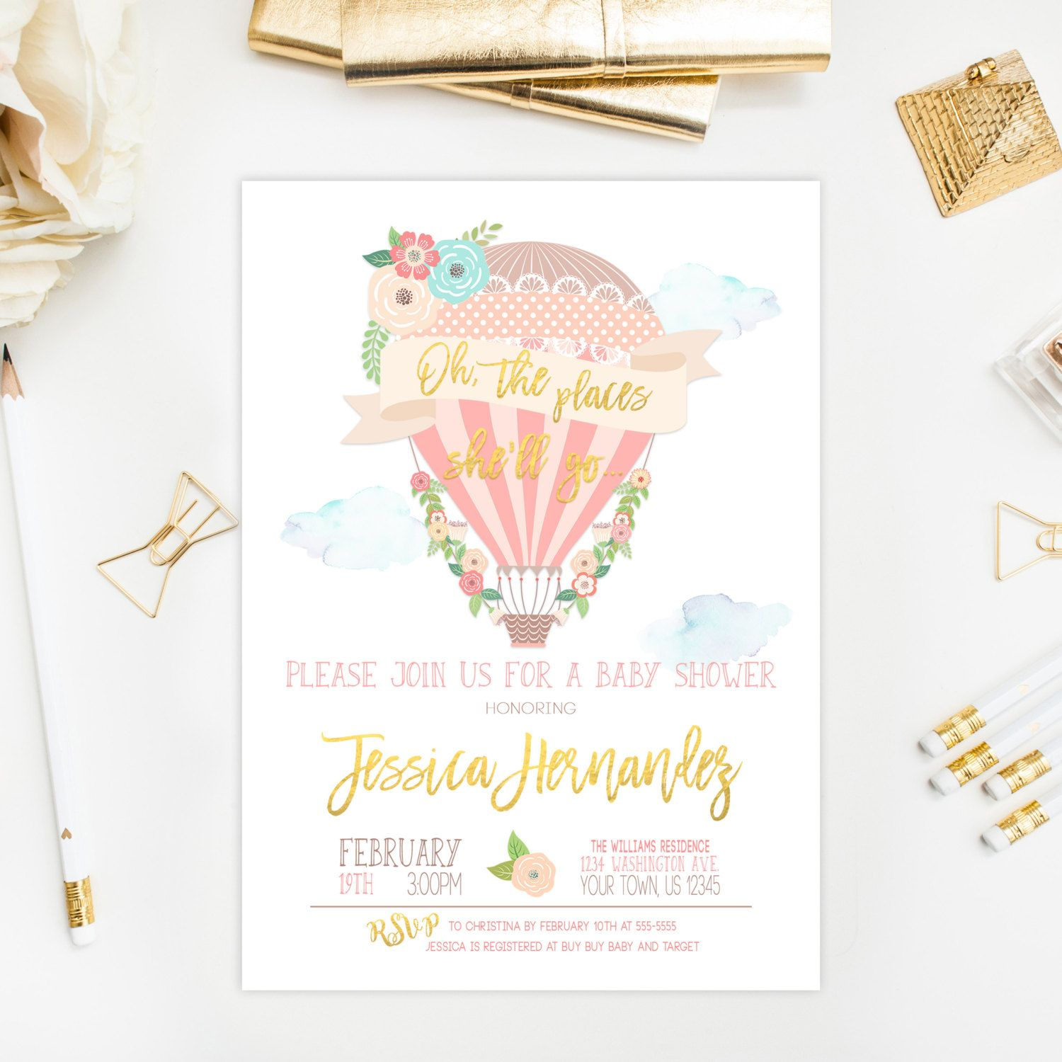 Hot Air Balloon Baby Shower Invitation Oh The Places She ll Go