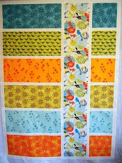loving this for a way to use a feature fabric (an especially awesome print) so that nothing competes for attention. All other prints are tonals pulled from the main print. Finish it up Friday - Quilt for 2012