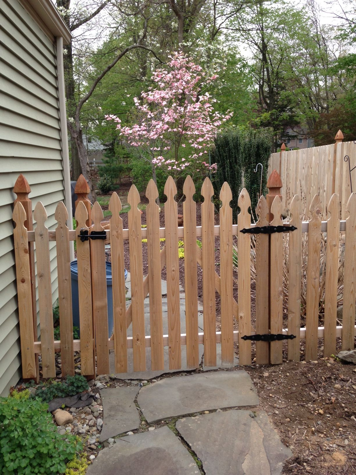 French Gothic Crowned Wood Gate Installed By Bergen Fence Wood Gate Side Garden Gothic Crown