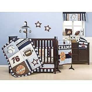 Amazon Com Kidsline 4 Piece American Sports Crib Set Basketball Baseball Football Design Home Kitche Baby Crib Bedding Sets Baby Crib Bedding Baby Cribs
