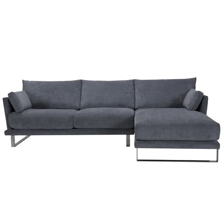 Grey modular 3 seat sofa with chaise lounge cityscape by for 3 seater chaise lounge