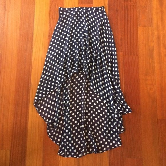 Forever 21, high low skirt, polka dots, small Forever 21, size small, high to low skirt, navy blue with white polka dots, lightly worn, beautiful for a nice dinner or walk, flattering Forever 21 Skirts High Low