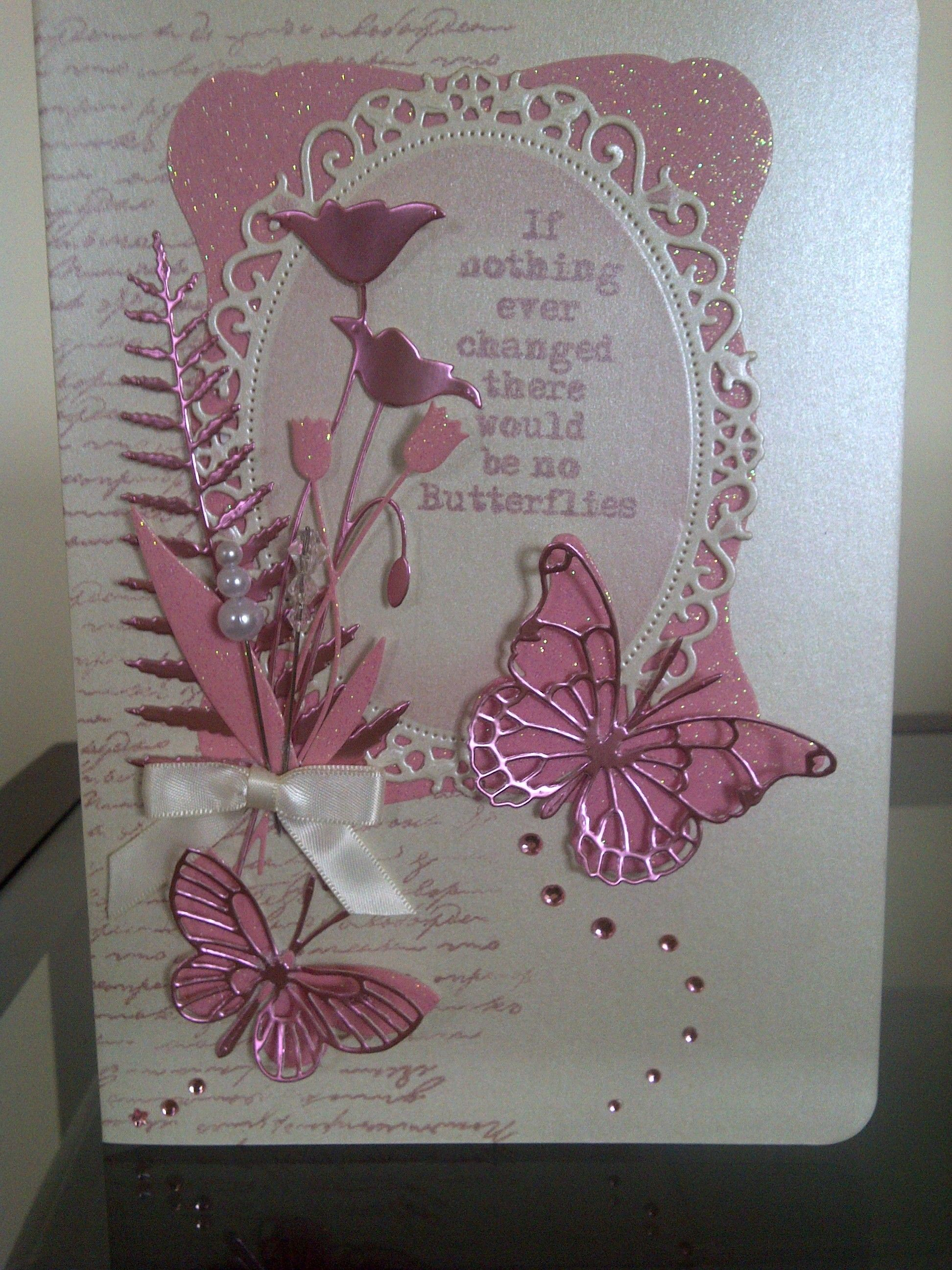 handmade card using memory box dies in pink with