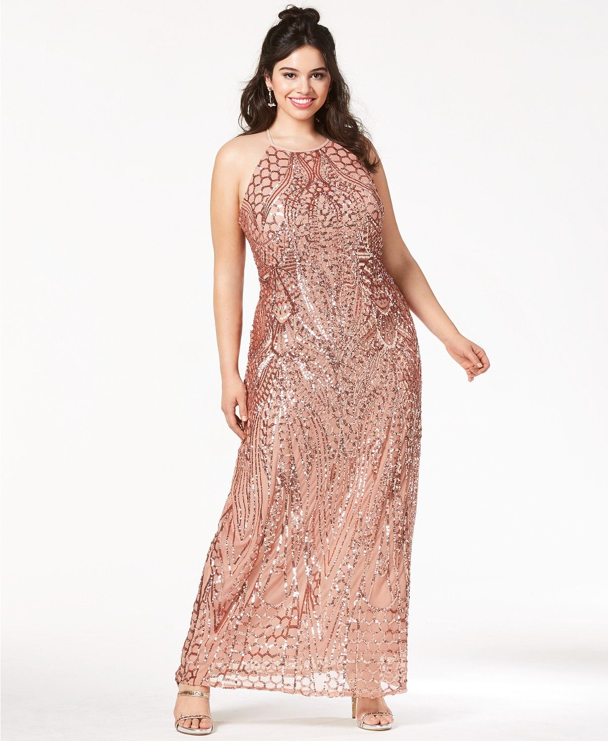 acfa023c1f9 Morgan & Company Trendy Plus Size Sequin-Patterned Backless Gown in ...