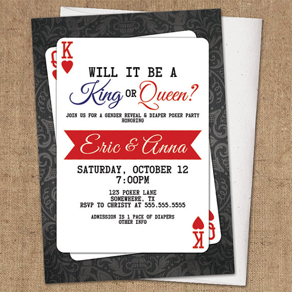 Items similar to Gender Reveal Invitation - DIY Printable - Poker Party on Etsy