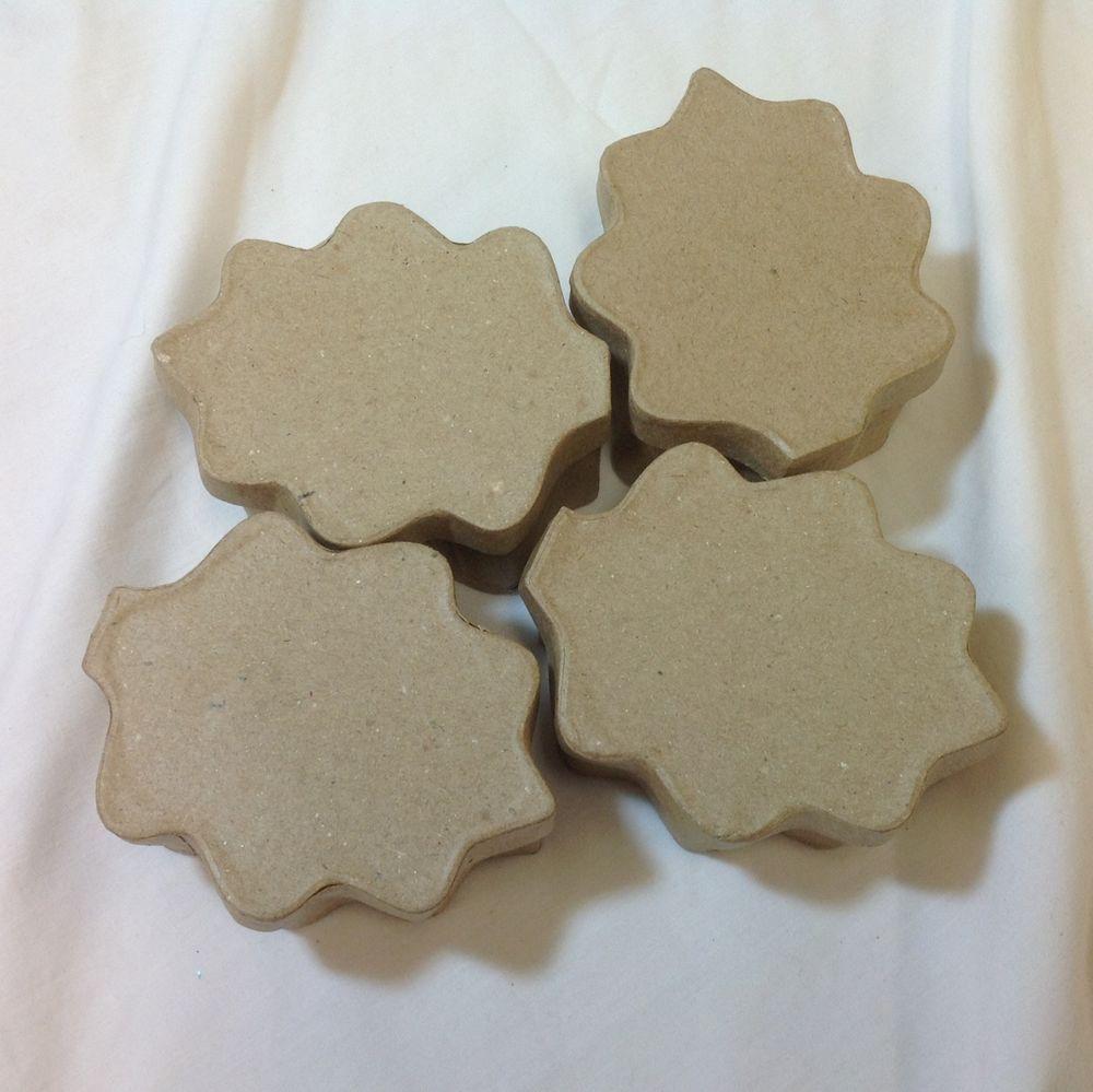 Four 4 Harvest Oak Leaf Leaves Lidded Paper Mache Boxes   Lids Autumn Fall