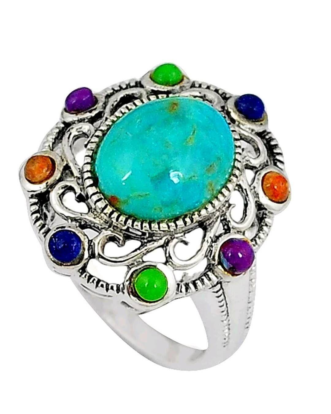 Com خاتم نسائي حجر فيروز طبيعي مصنوع من الفضه الاسترلينيه مقاس 6 Natural Terquase Ladies Ring Made Of Sterling Silver S Turquoise Bracelet Jewelry Turquoise
