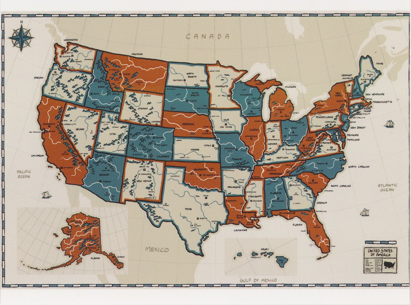 United States Map Postcard From Connie In St Charles Illinois Usa - Illinois-in-us-map