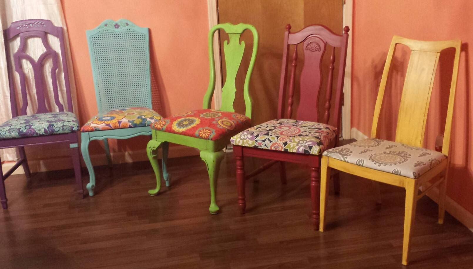 fun dining room chairs | A bunch of mismatched chairs I refurbished for a friends ...