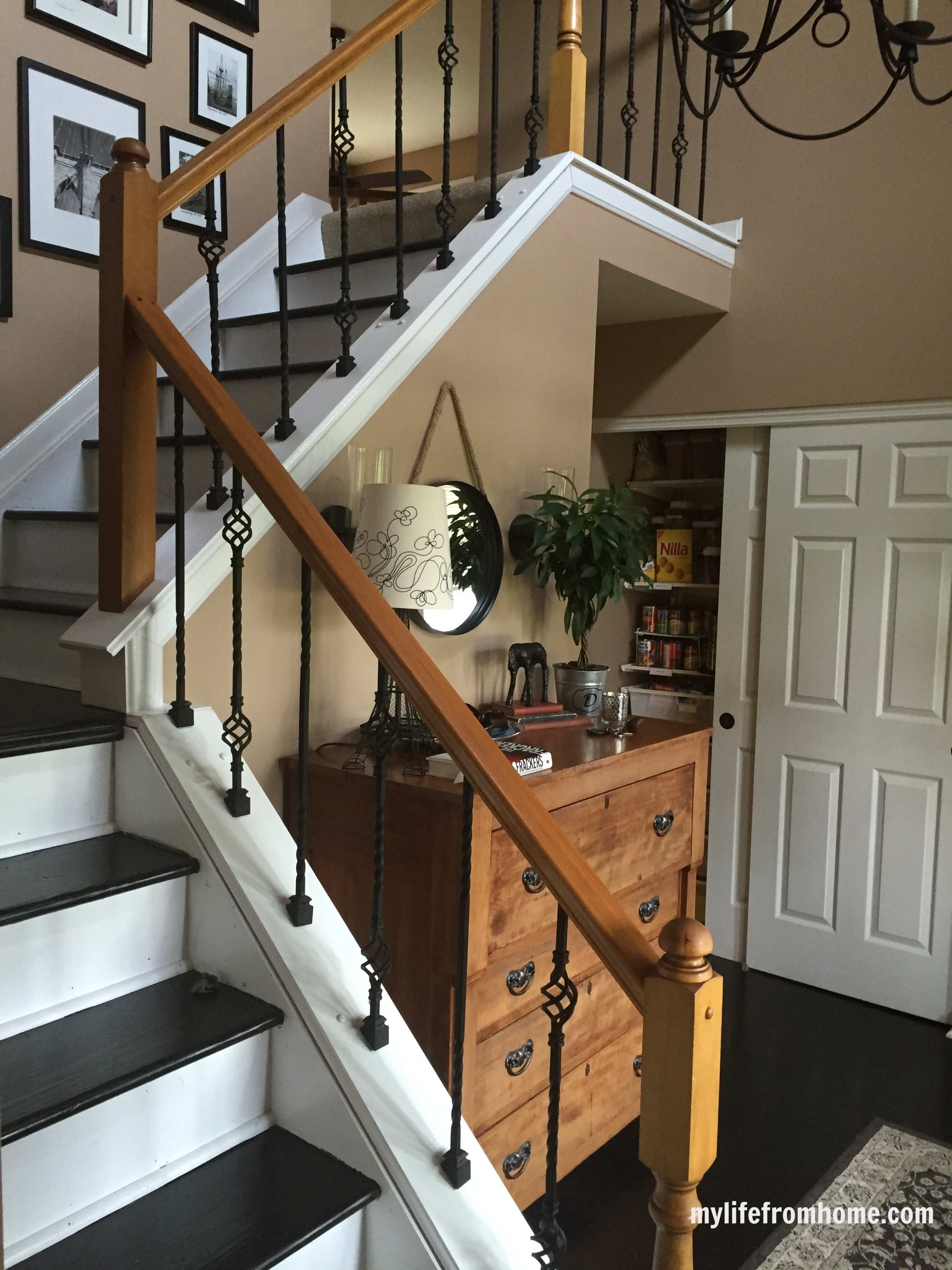 Diy Railings Adding Wrought Iron Spindles White Cottage Home   Diy Curved Stair Railing   Spiral Staircase   Glass   Staircase Makeover   Stair Case   Railing Ideas