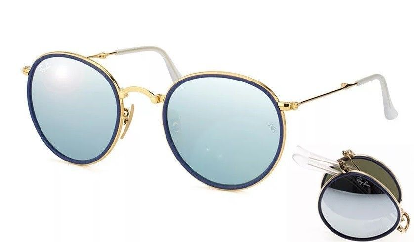 863e0f3535 Ray-Ban Round Folding RB3517 001 30 Silver Flash Mirror Lens 51-21 mm Gold  Frame  fashion  clothing  shoes  accessories  unisexclothingshoesaccs ...