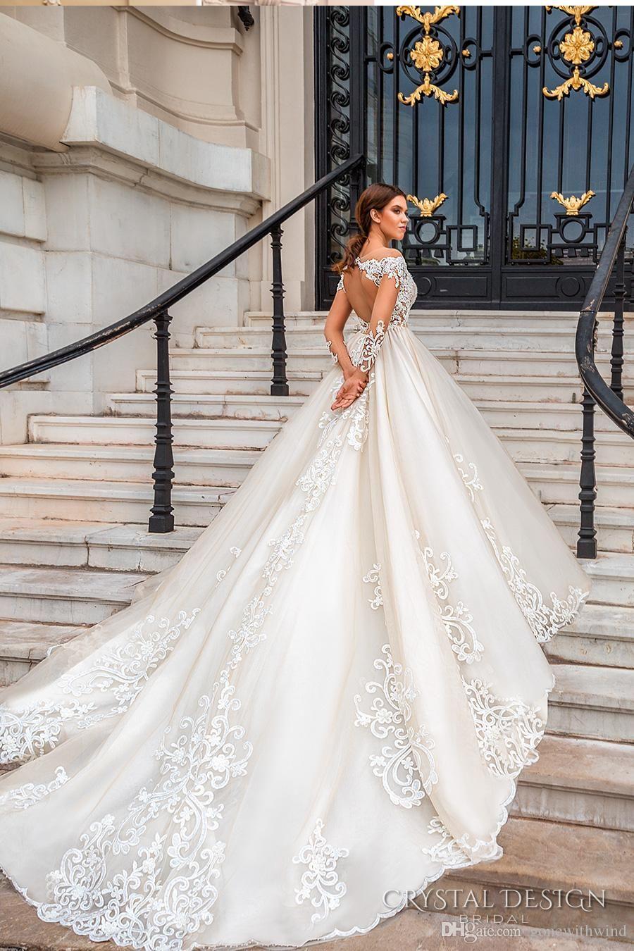 Elegant Princess Aline Wedding Dresses 2017 Bridal Long Sleeves