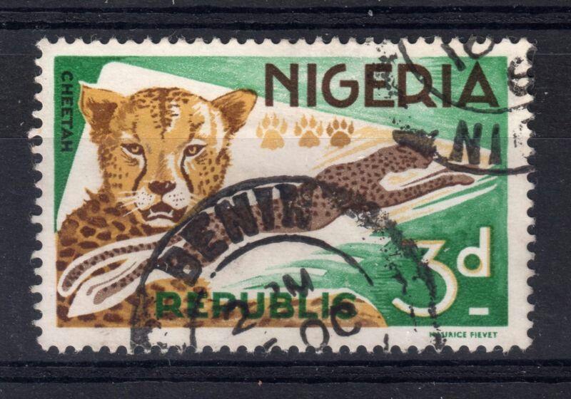 Cheetah by Maurice Fievet | 3d stamp | stamped Benin | Nigeria