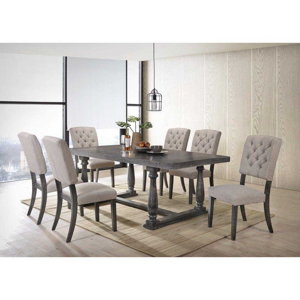 The Gray Barn Martell Weathered Grey Oak Dining Table In 2020 Fabric Dining Chairs Oak Dining Table Acme Furniture