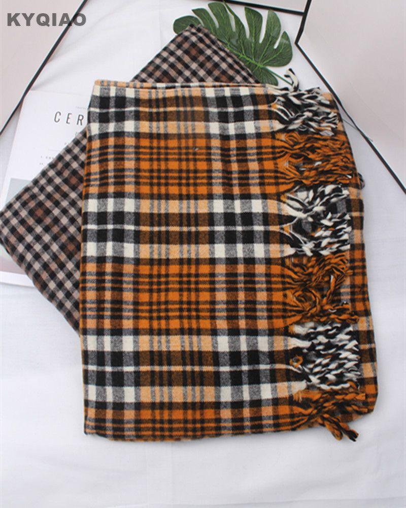 Trouver plus Foulards Informations sur KYQIAO Plaid écharpe femmes automne  hiver Espagne style vintage élégant longue chaud doux plaid écharpe châle  ... ffe9b1f485e