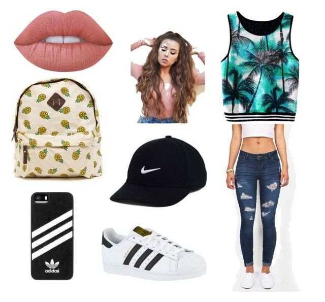Ahhhh by arianagrande1962 on Polyvore featuring polyvore, fashion, style, adidas, NIKE, Lime Crime and clothing