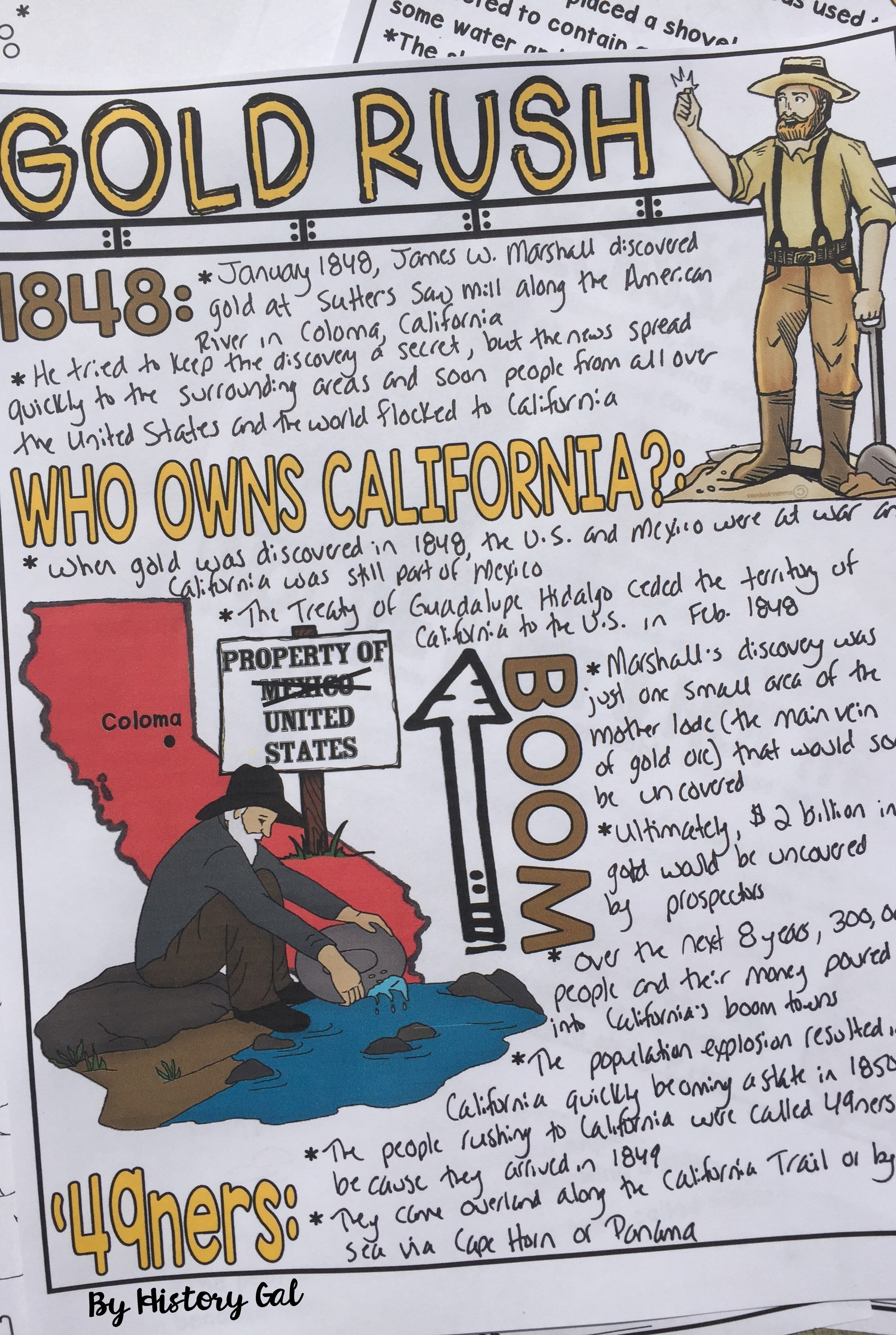 Pin By 18 On Writing History Notes Doodle Notes California Gold Rush