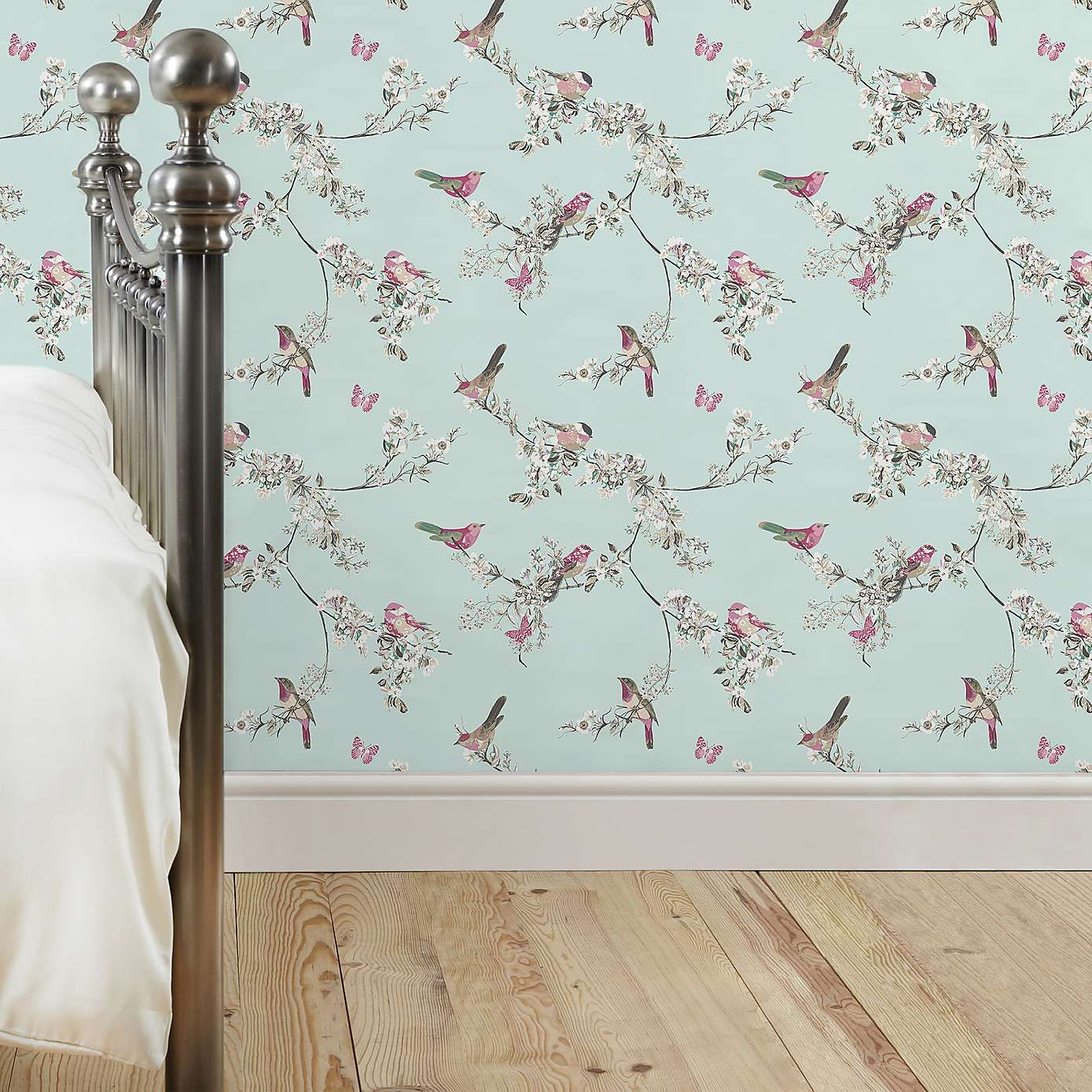 Dunelm Beautiful Birds Floral Duck Egg Green Wallpaper