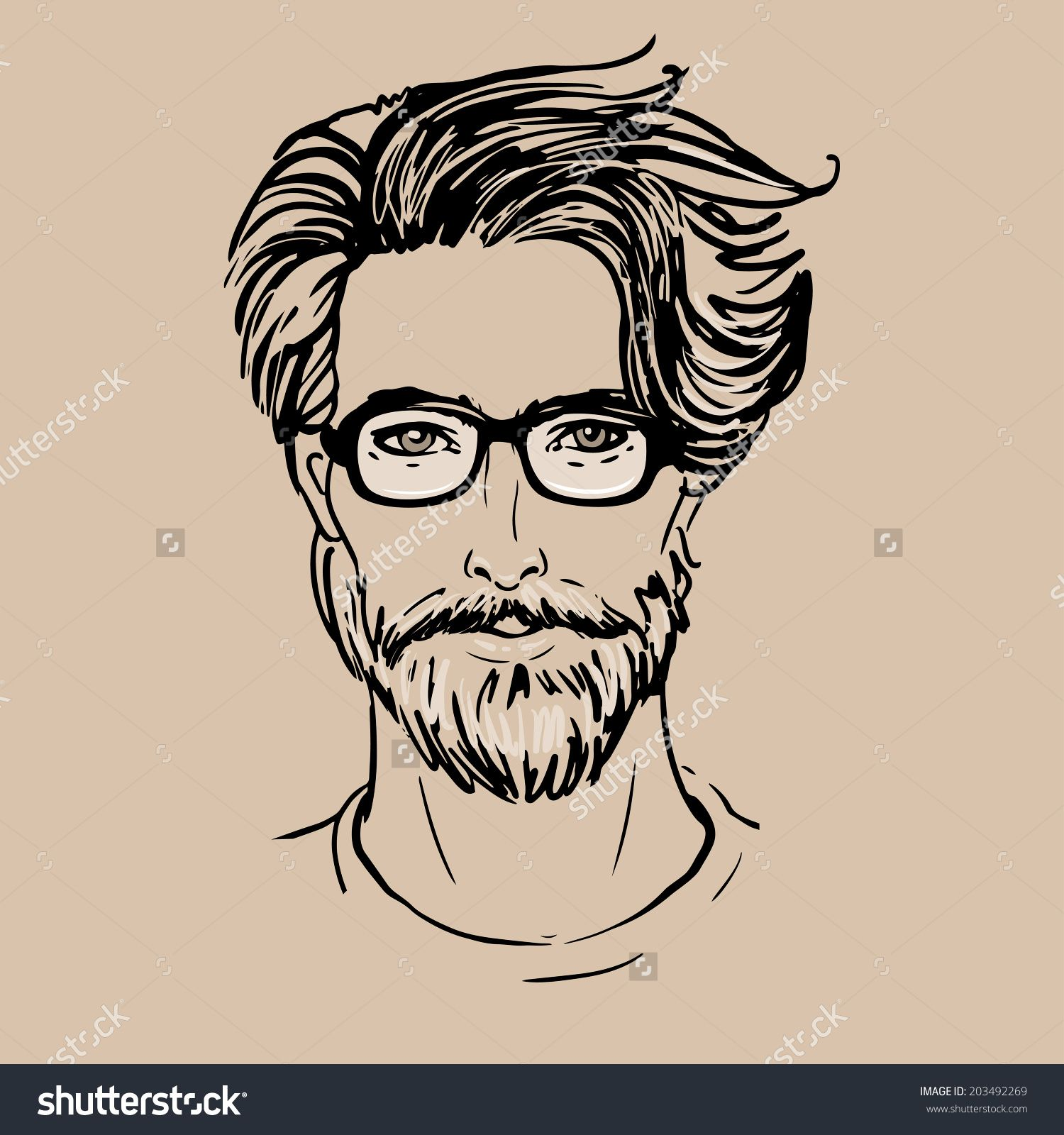Hipster. Vector of a man face with beard and glasses