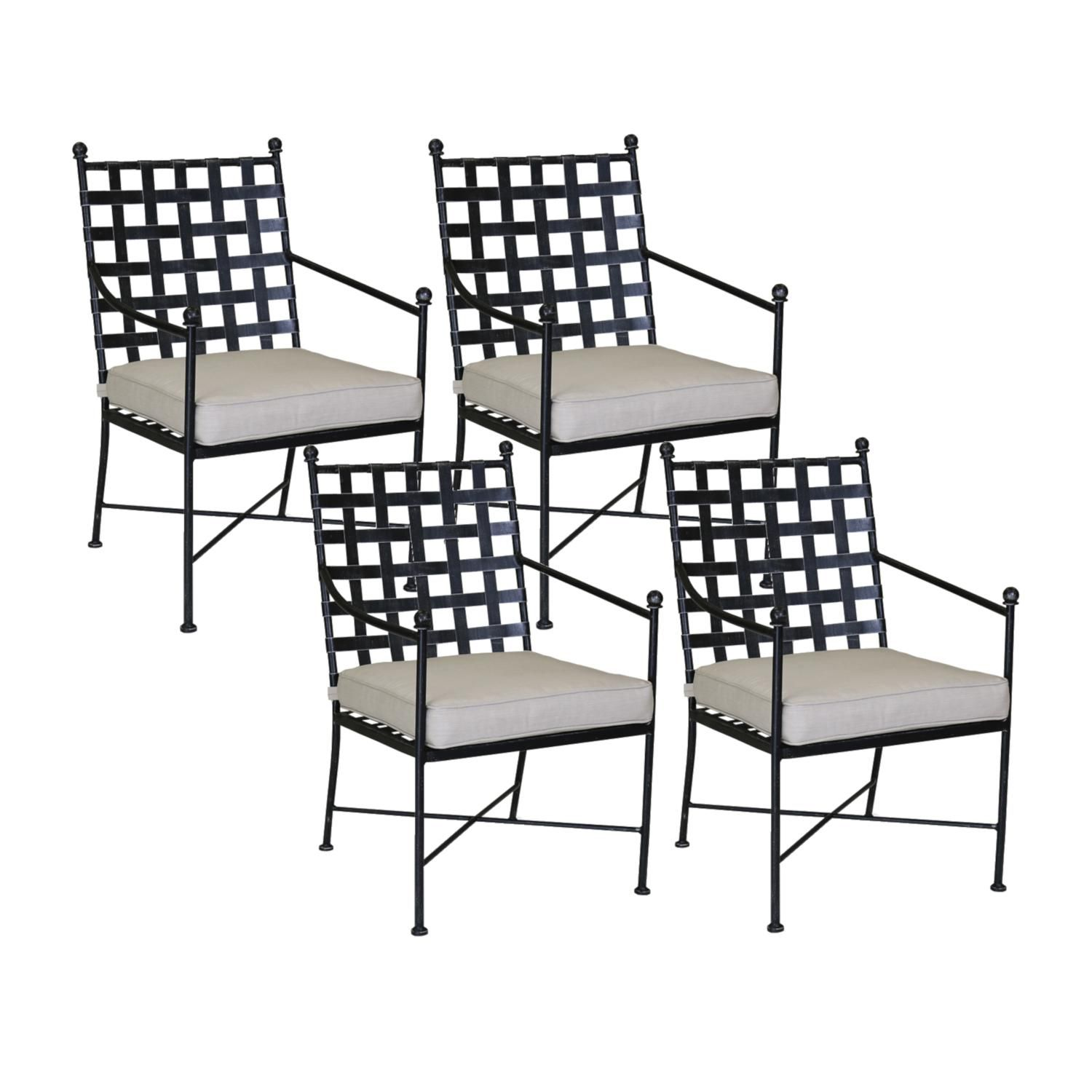 Provence 4 Piece Wrought Iron Patio Dining Arm Chair Set W