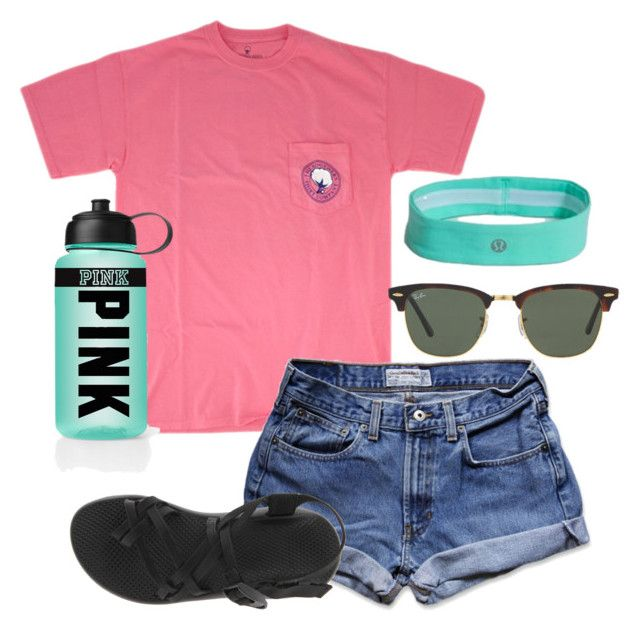 """Camp"" by bowsandanchors ❤ liked on Polyvore featuring Abercrombie & Fitch, Chaco, Ray-Ban and Victoria's Secret PINK"