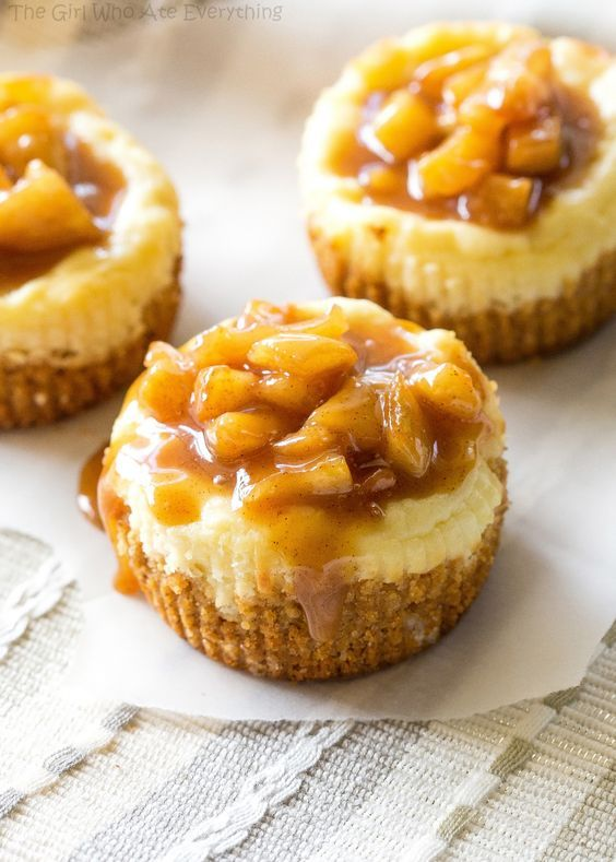 Mini Caramel Apple Cheesecakes - The Girl Who Ate Everything