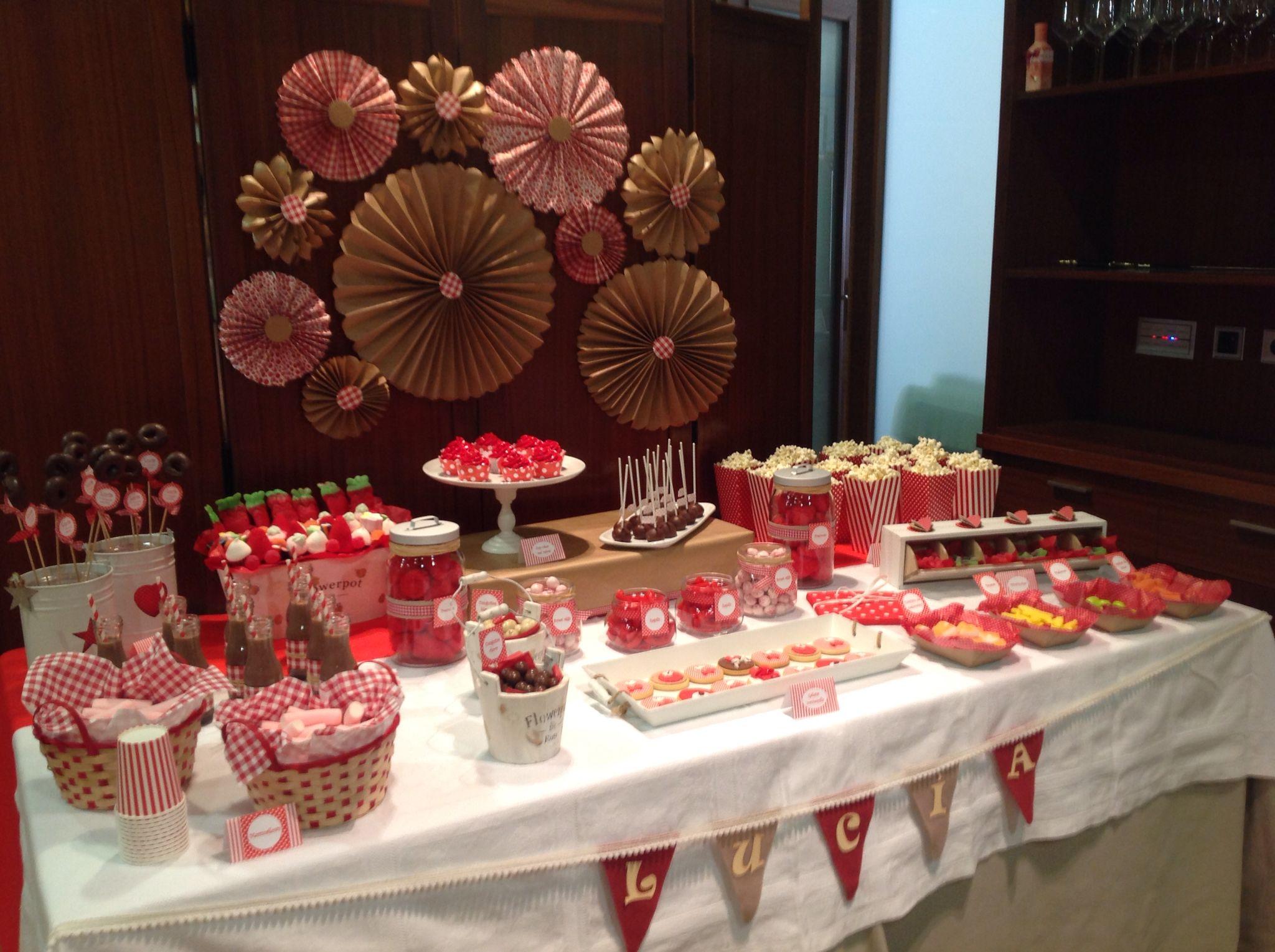 Mesa dulce comunión lucia en rojo.BDfiesta