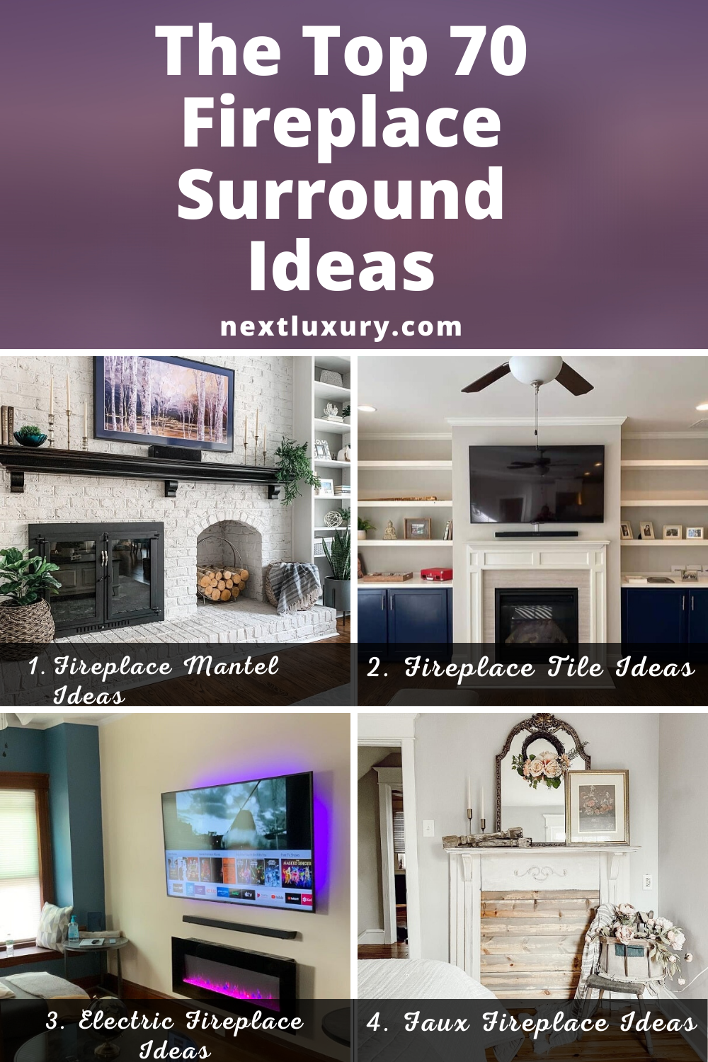 Gallery of the Best Fireplace Surround Ideas. Includes Fireplace Mantel Ideas, Fireplace Tile Ideas and Electric Fireplace Ideas. #homedecor #homedecorideas #homedesign #homedesignideas #nextluxury