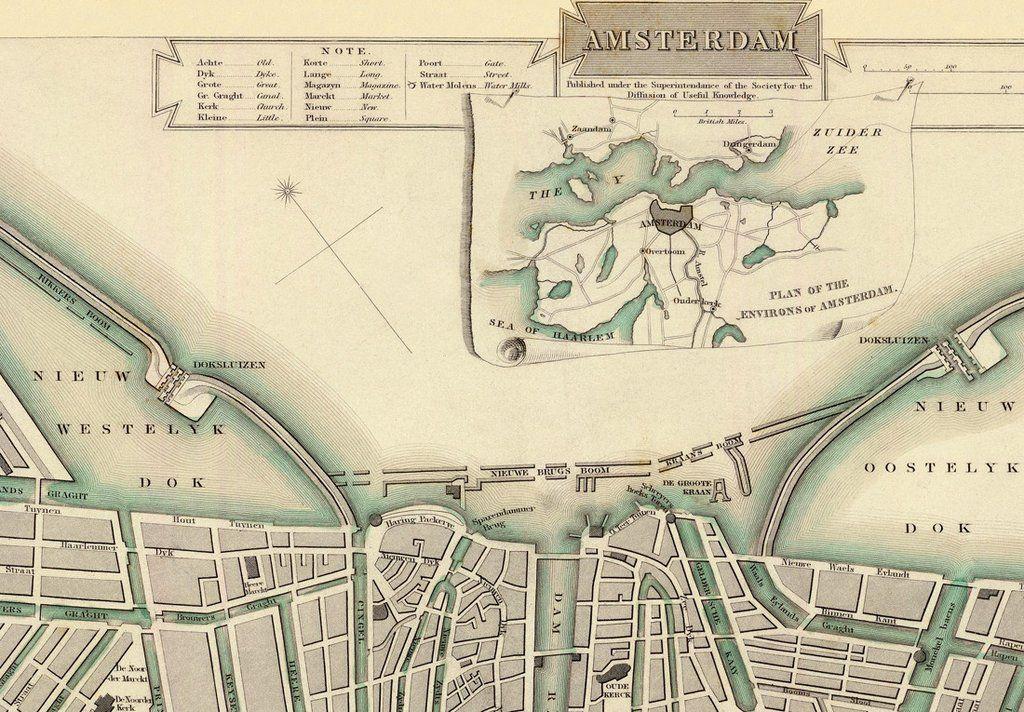Amsterdam Map 37x44 Canvas Map antique maps