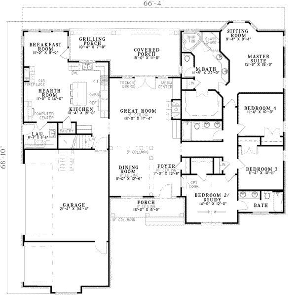 Traditional Style House Plan 4 Beds 3 Baths 2405 Sq Ft Plan 17 2129 Ranch House Plans House Plans And More How To Plan