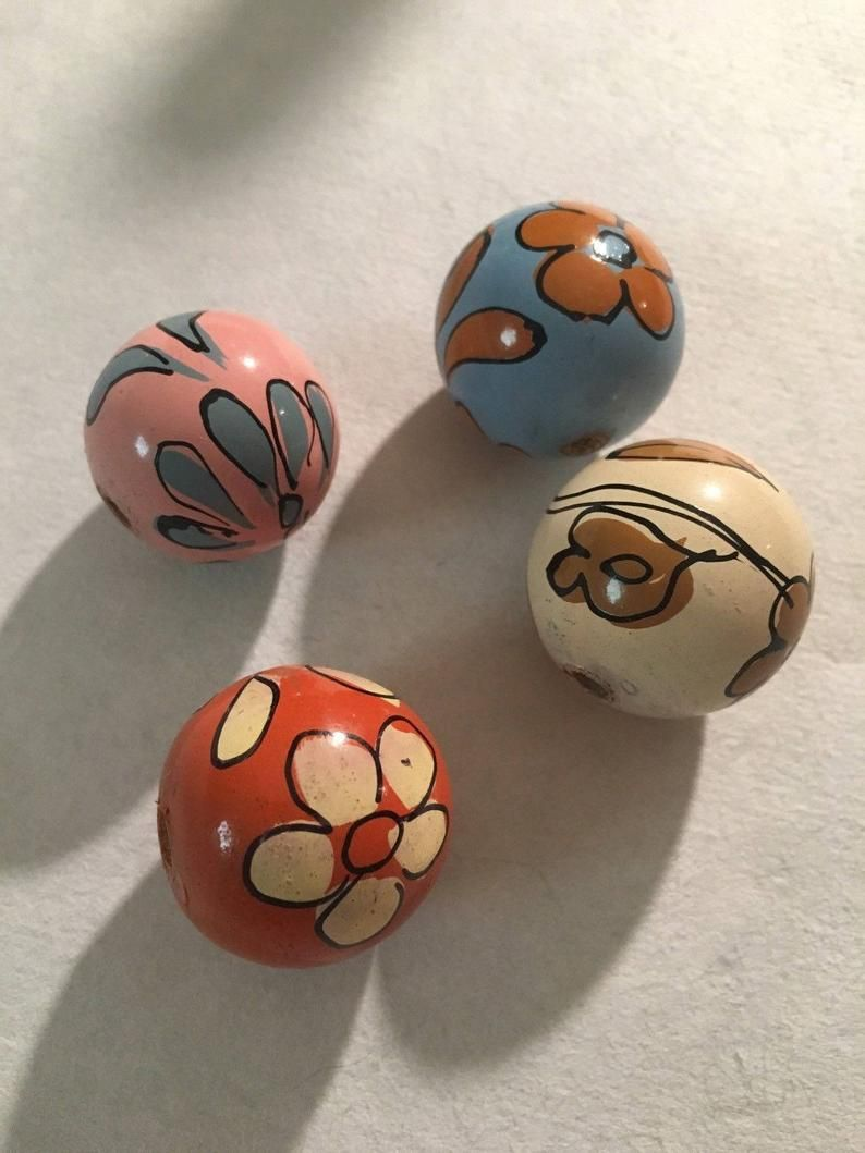 Set of 6 for bead embroidery OOAK jewelry Handpainted Cabochons embellishment crafts scrapbooking