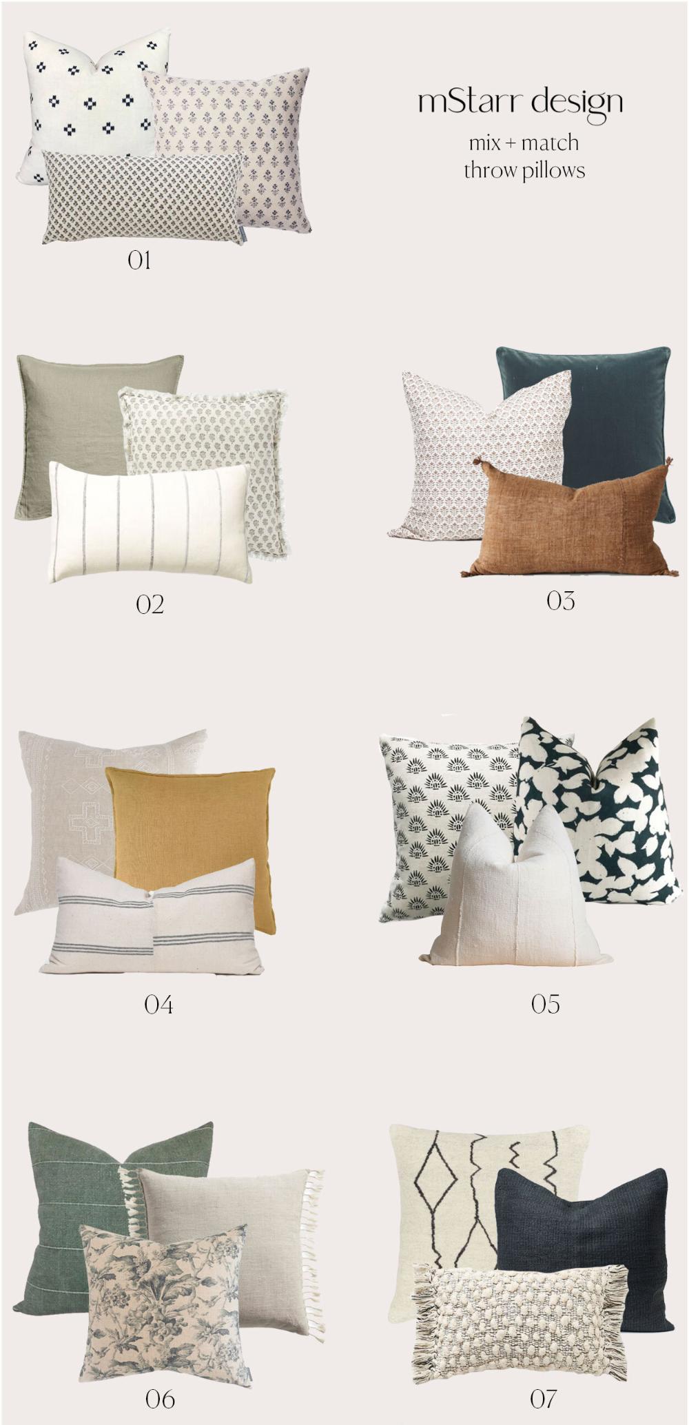 How To Mix Match Throw Pillows Mstarr Design Throw Pillows Living Room Living Room Pillows Throw Pillows Bedroom Throw pillows for bed decorating