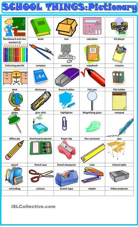 School things pictionary 1   Classroom language, English lessons for kids,  English teaching materials