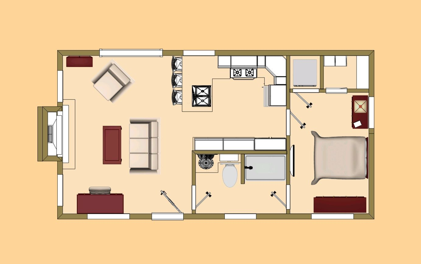 The floor plan of our 480 sq ft shoe box tiny home for Small house layout design